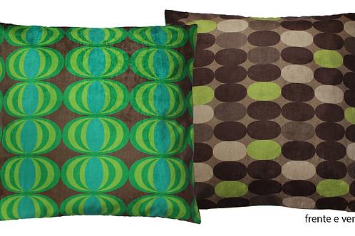 Capa de almofada dupla face seventies verde