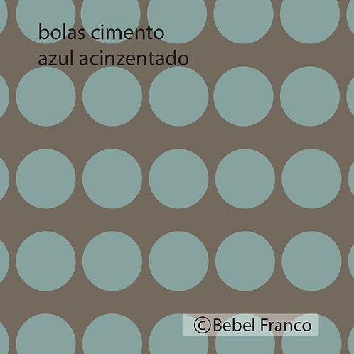 Tecido com estampa decoração bolas cimento azul acinzentado