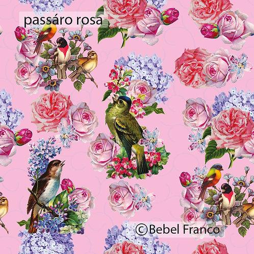 Tecido com estampa para decoração pássaro rosa