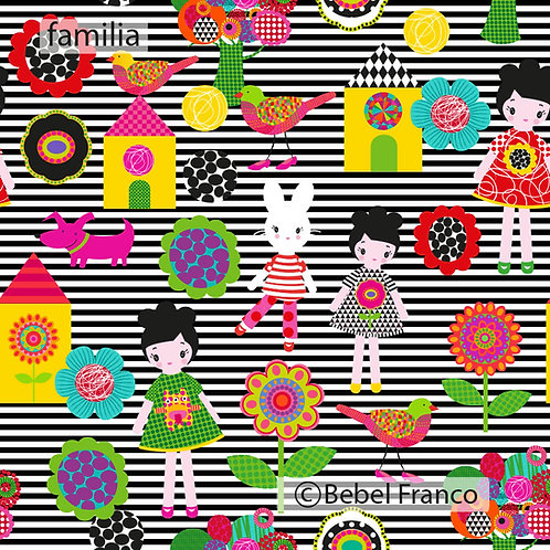 Tecido com estampa para decoração infantil familia