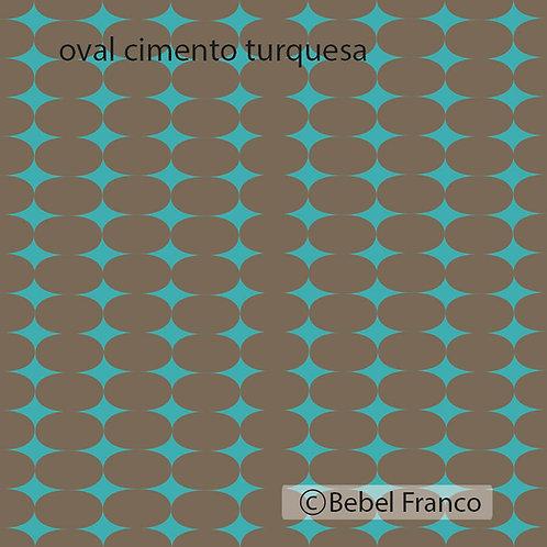 papel de parede estampa oval cimento turquesa