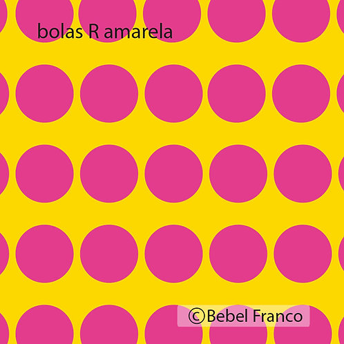 Tecido com estampa decoração bolas rosas com fundo amarelo