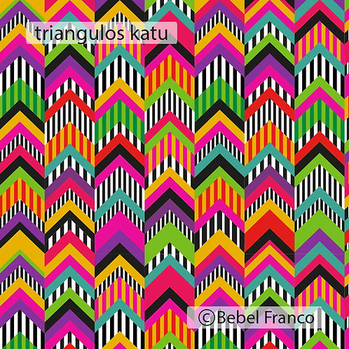 Tecido com estampa para estofado - triangulos katu