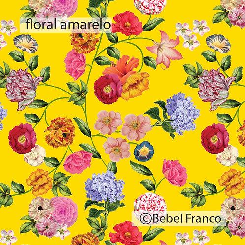 papel de parede estampa floral amarelo