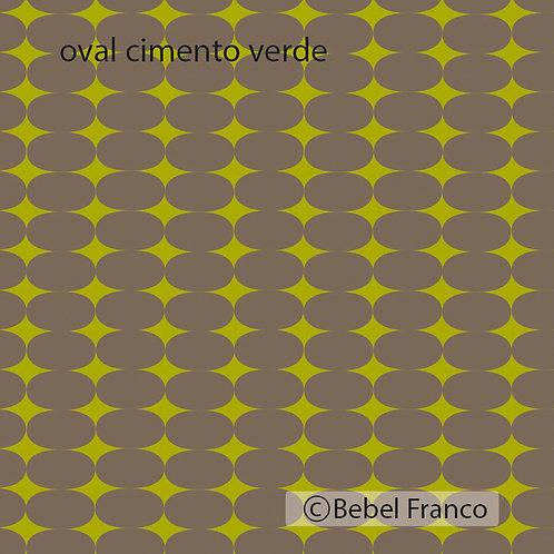 Tecido com estampa para decoração - oval cimento verde