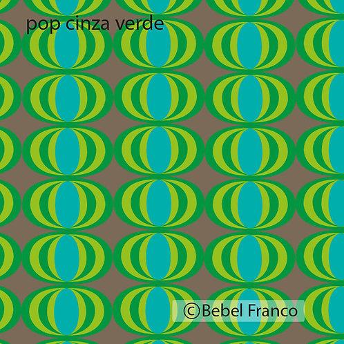Tecido com estampa para decoração - pop cinza e verde