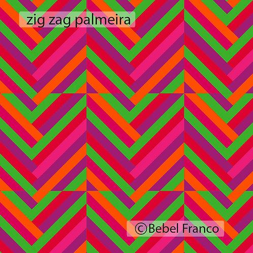 Tecido com estampa para decoração - colorida zig zag palmeira