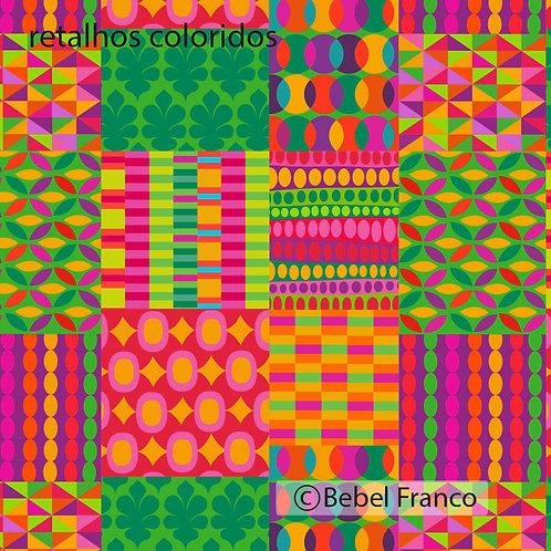 tecido com estampa para decoração - retalhos coloridos