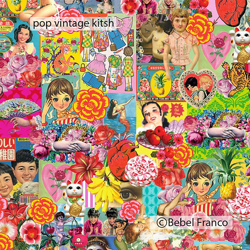 papel de parede estampa Patchwork Pop vintage