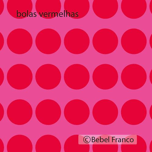 Tecido com estampa decoração bolas vermelhas com fundo rosa