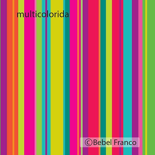 Tecido para estampado listra multicolorida