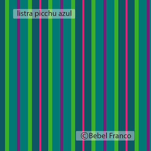 Tecido com estampa para decoração - listra picchu azul