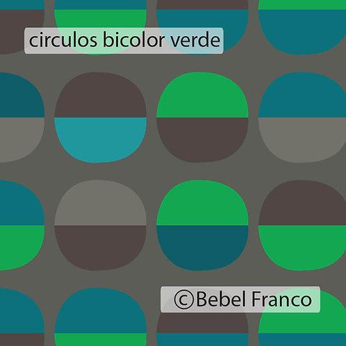 Tecido com estampa decoração circulos bicolor verde