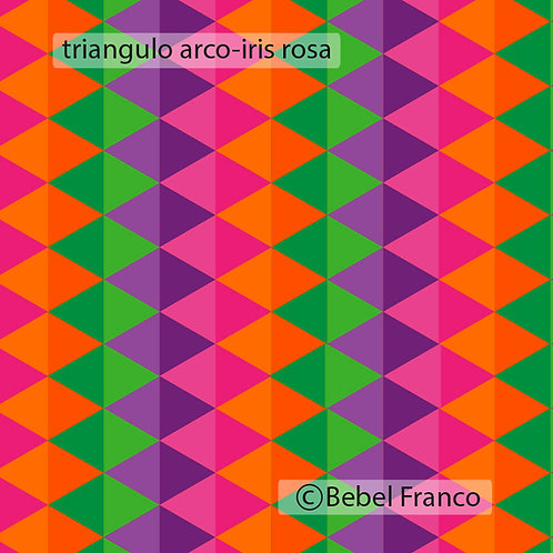 papel de parede estampa triângulo arco-iris rosa