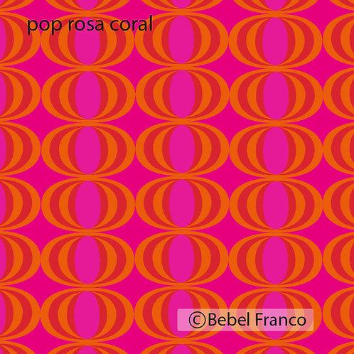 Tecido com estampa para decoração - pop rosa e coral