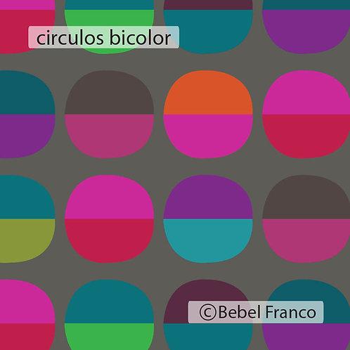 Tecido com estampa decoração círculos bicolor