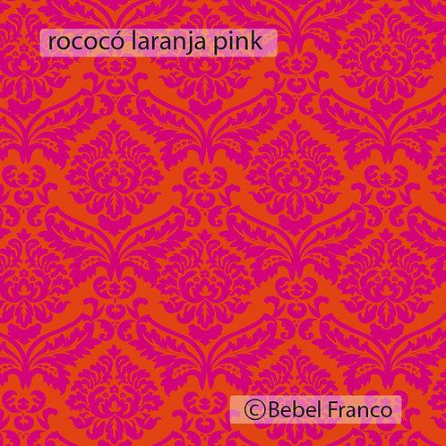 papel de parede estampa rococó laranja pink