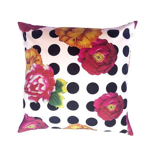 capa de almofada floral com bolas