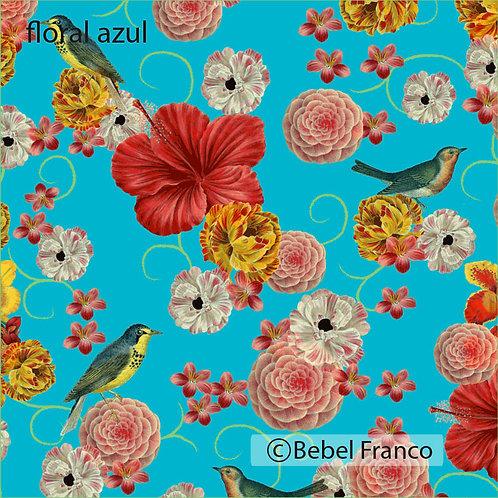 Tecido com estampa para decoração floral azul