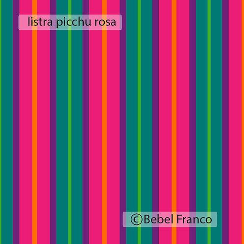 Tecido com estampa para decoração listra picchu rosa