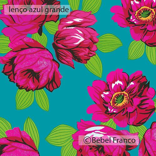 Tecido com estampa floral lenço azul grande