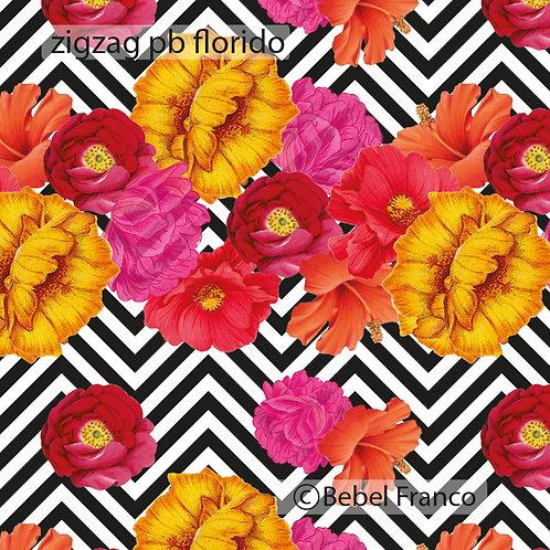 Tecido com estampa para decoração - ondas floridas pb