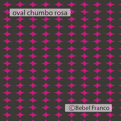 Tecido com estampa para decoração oval rosa fluor