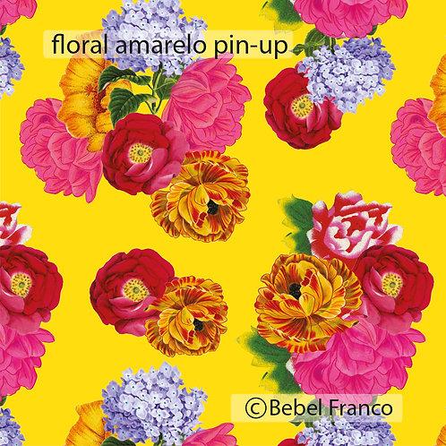 Tecido com estampa para decoração - floral amarelo pin-up