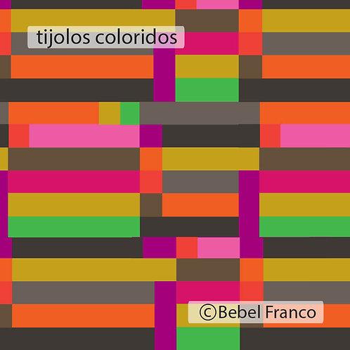 Tecido com estampa para decoração colorida tijolos