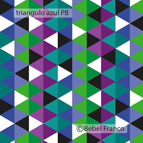 Tecido com estampa triângulo azul PB