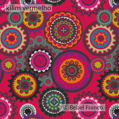 Tecido com estampa para decoração - kilim vermelho