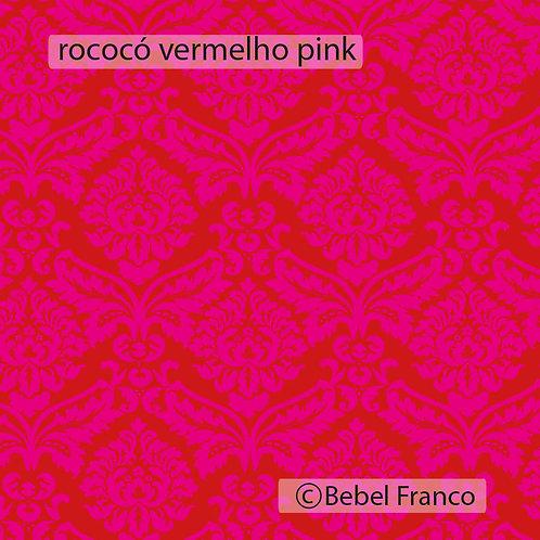 Tecido com estampa para decoraçao rococó vermelho pink