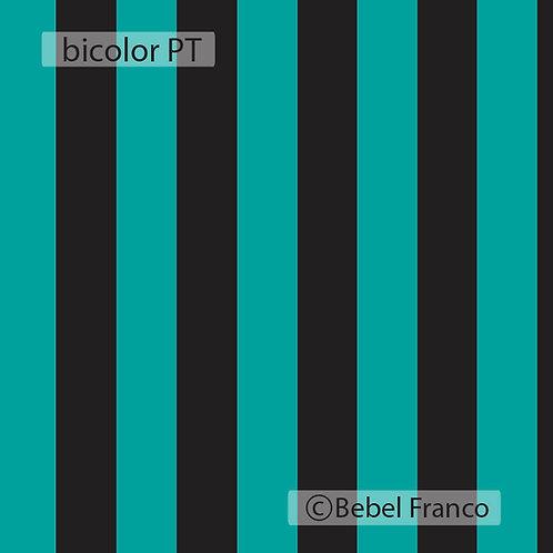 Papel de parede listra Bicolor Preto e Turquesa