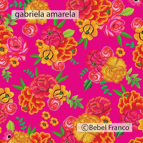 Tecido com estampa para decoração florido gabriela rosa