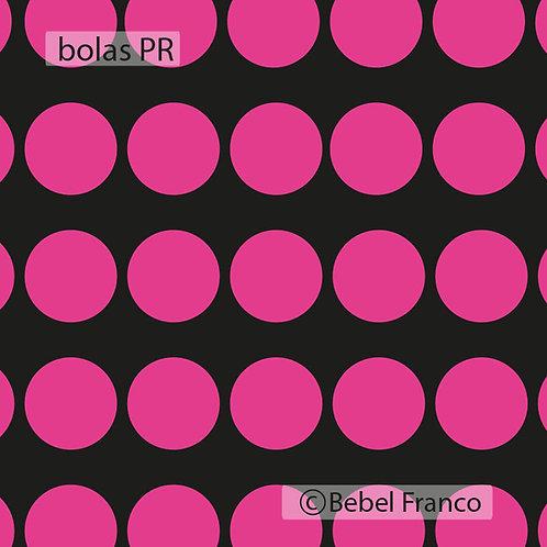 papel de parede bolas rosas com fundo preto