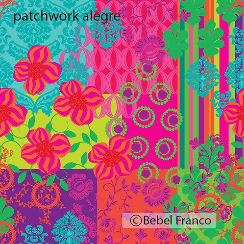 Tecido com estampa - patchwork alegre