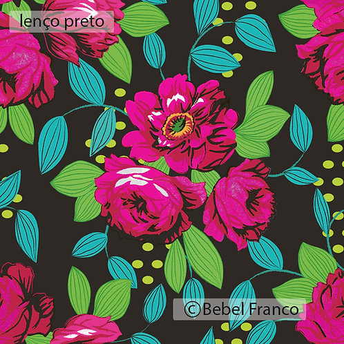 papel de parede estampa floral lenço preto