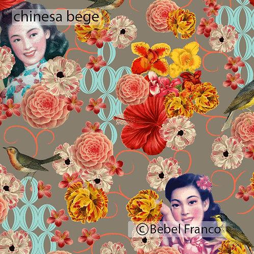 Tecido com estampa para decoração - chinesa bege