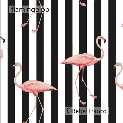 Tecido com estampa para decoração - flamingo fundo listras pb