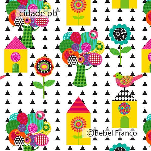 Tecido para decoração colorida infantil cidade pb