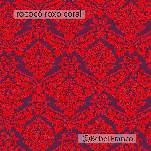 tecido para estofado rococó roxo floral