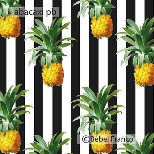 Tecido com estampa para decoração - abacaxi fundo listras pb