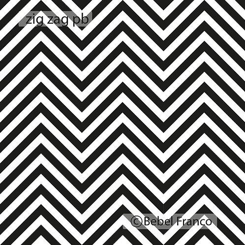 papel de parede estampa zig zag preto e branco