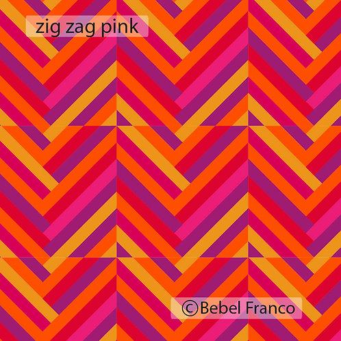 Tecido com estampa - zig zag pink