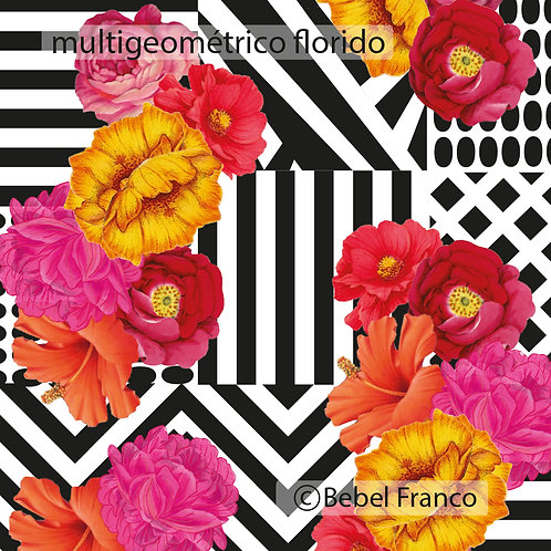 Tecido com estampa para decoração - multigeométrico florido