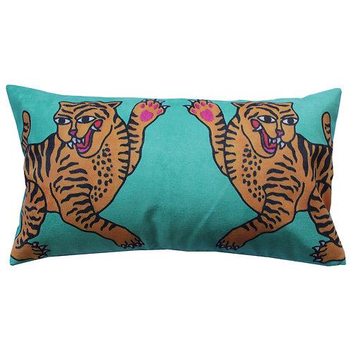 capa de almofada lombar tigre azul