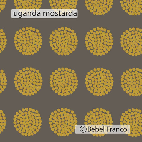 Tecido com estampa - uganda mostarda