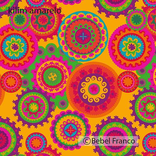 Tecido com estampa para decoração - kilim amarelo