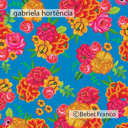 Tecido com estampa para decoração florido gabriela azul hortência