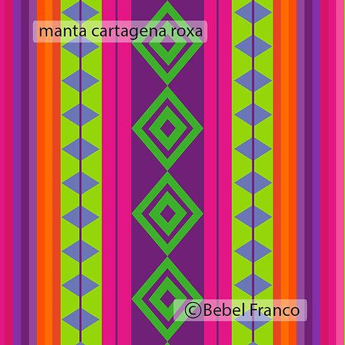 Tecido com estampa para decoração manta cartagena roxa